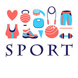 Different colored sports symbols
