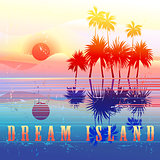 Retro colorful island paradise