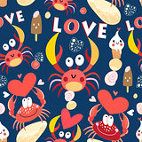 Seamless jolly pattern with crabs in love