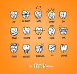 Teeth characters orange