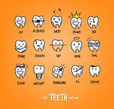 Teeth characters orange