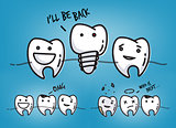 Teeth cool blue cartoons