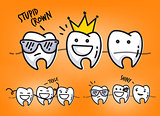 Teeth orange cartoons