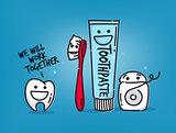 Teeth cartoons blue