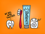 Teeth cartoons orange