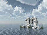 number ten rock - 3d rendering