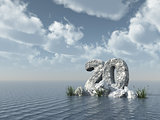 number twenty rock at water - 3d rendering
