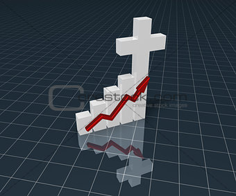 business graph with christian cross - 3d rendering