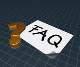 the word faq on paper sheet and question mark - 3d rendering