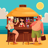 Summer vacation, a beach bar by the sea