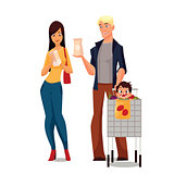 Purchase of food products cartoon young family