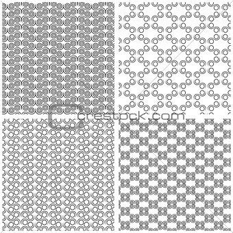 Four Seamless Monochrome Patterns