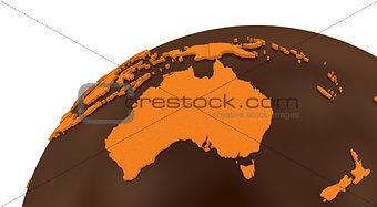 Australia on chocolate Earth