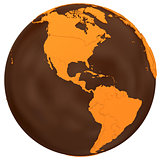 Americas on chocolate Earth