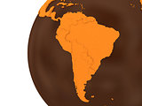 South America on chocolate Earth