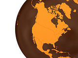 North America on chocolate Earth