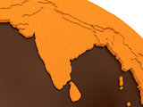 India on chocolate Earth