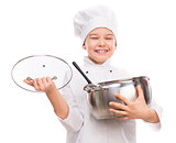 laughing little boy-cook with pan in hands