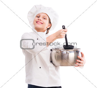 little girl in cook uniform with pan and ladle