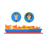 Cargo Ship And Logistic Managers Portraits