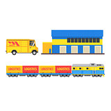 Warehouse, Cargo Train And Bus