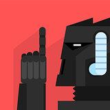 Black Robot With Finger Up