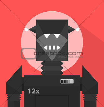 Black Evil Robot Character