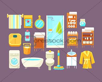 Bathroom Interior Elements Set