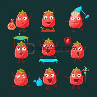 Tomato Cartoon Character Set