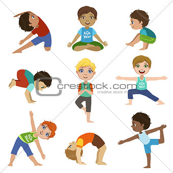 Little Boys Doing Yoga Set