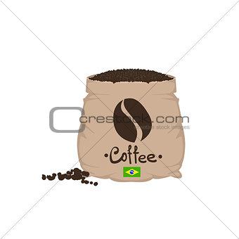 Brazilian Coffee Beans In A Sack