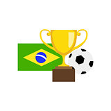 Ball, Championship Prize And Brazilian Flag