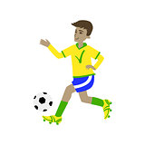 Football Player In Brazilian Colors