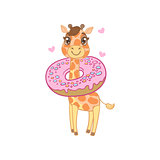 Giraffe With Donut Around The Neck