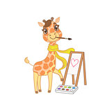 Giraffe In Scarf Painting