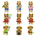 Cute Dog Cartoon Set