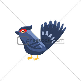 Black Grouse Simplified Cute Illustration