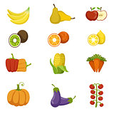 Fresh Fruits And Vegetables Icon Set