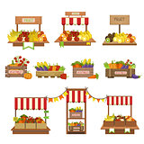 Vegetables Market Stands Set
