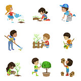 Kids Gardening Illustrations Collection