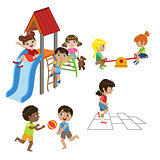Kids Playing Outdoors Set