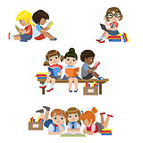 Kids Reading Books Set