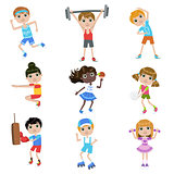 Children Doing Sports Set