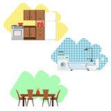 Kitchen, Bathroom And Dining Room Interior Design Set