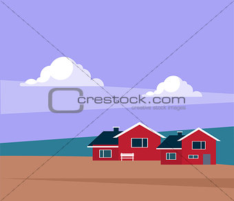 Classic Icelandic Landscape With Houses