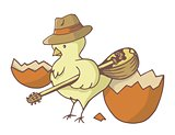 Easter chick with bouzouki