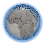 Africa on metallic planet Earth