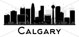 Calgary City skyline black and white silhouette.