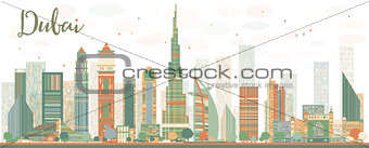 Abstract Dubai City skyline withcolor skyscrapers