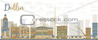 Abstract Dublin Skyline with Color Buildings, Ireland
